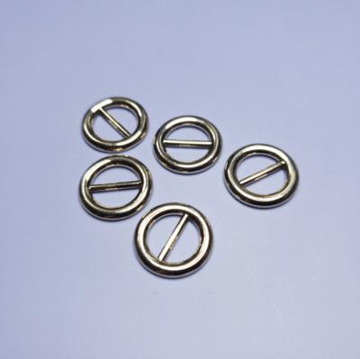BK0010 ミニバックル 円型 ピンなし ベルト幅9mm ゴールド 5個セット