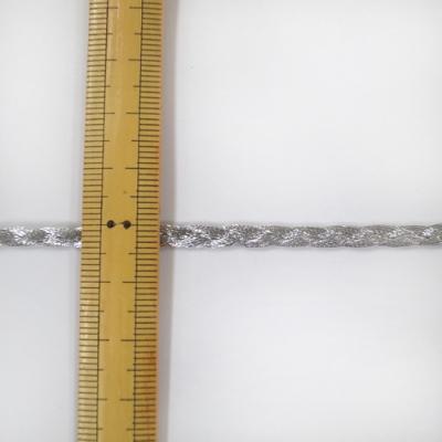 BR0252m90 ラメブレード 三つ編み 4mm幅 シルバー 特価 90m一反