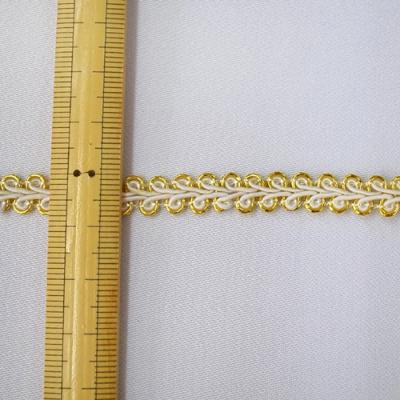 BR0271 リーフブレード 8mm幅 ホワイト×ゴールド(白×金) 1m単位 ※5m毎に分割