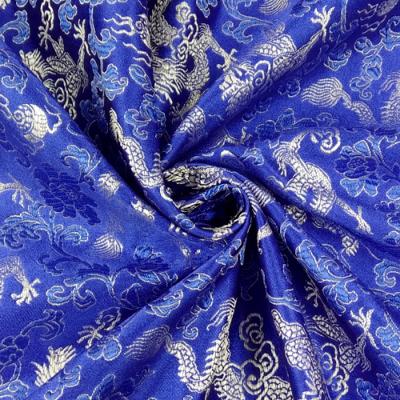 CH0112 チャイナ生地 龍と花 72cm幅 ブルー(シルバー)