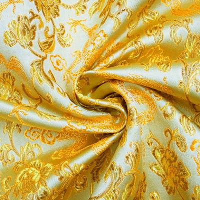 CH0117 チャイナ生地 龍と花 72cm幅 ゴールド(オレンジ)(金系)