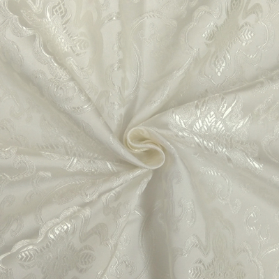 CH0502 チャイナ生地 蓮と唐草 72cm幅 ホワイト(ホワイト)