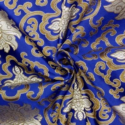 CH0504 チャイナ生地 蓮と唐草 72cm幅 ブルー(ゴールド)