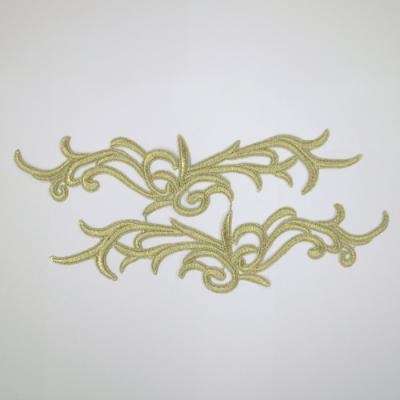 EM0161 刺繍モチーフ 316mm×76mm ゴールド(金) 上下セット 特価