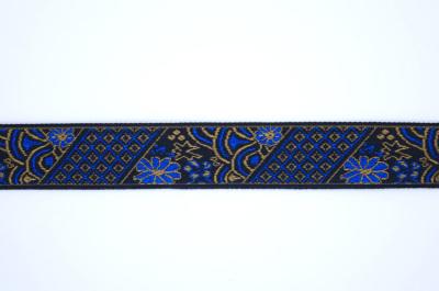 ET0011 刺繍テープ 花と格子 ブルーとゴールド 24mm幅 ※5m毎に分割となります。