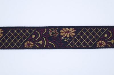 ET0012 刺繍テープ 花と格子 ワインレッド×ゴールド 24mm幅 ※5m毎に分割となります。