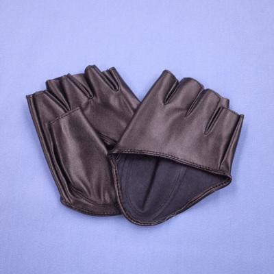 GL2052 合皮手袋 指ぬきショート12cm ブラック(黒)