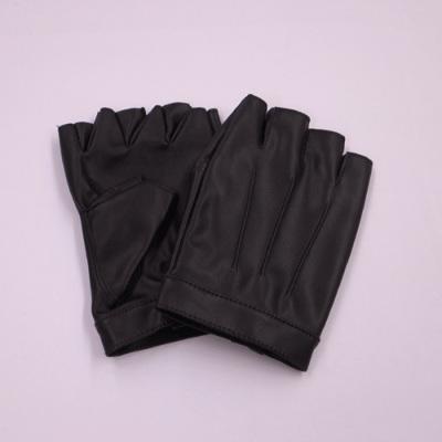 GL2061 合皮手袋 指ぬき15cm ブラック(黒) メンズサイズ
