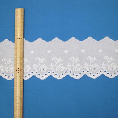 LC0311 綿レース バラ・山型 65mm ホワイト(白) ※1反13m