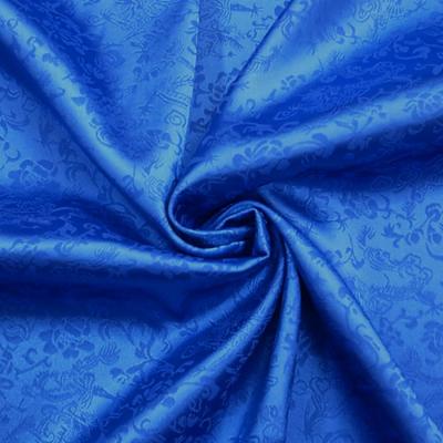 ch5232 チャイナ生地 龍と花(薄手)120cm幅 青(ブルー)